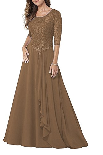 Pretygirl Womens Lace Chiffon 1/2 Sleeve Mother of Bride Dress A-line Prom Evening Gown Long