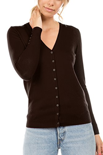 CIELO Women's Regular Solid Cardigan with Decorative Buttons Brown Small ()