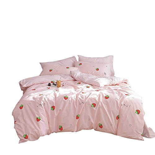 Four Seasons Quilt Shop - Enjoylife 100% Coton Bedding Bedroom 3 pcs Sets with 2 Envelope Pillowcase, Soft Duvet Cover for Kids/Teens/Adults Hidden zipper Quilt Cover Printed Strawberry Full/Queen