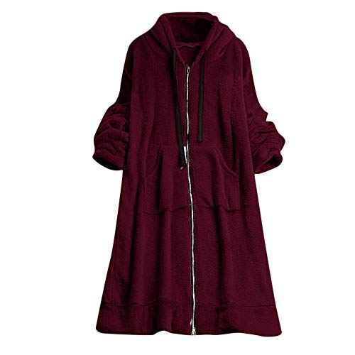 Ladies Winter Solid Plush Drawstring Hooded Long Sweatshirts Coat Outwear Women