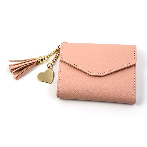 Wallets for Women Short Purse Pu Leather Girl Purse Organizer Solid Litchi Fold Wallet Heart Pendant Tassel (Pink) ()