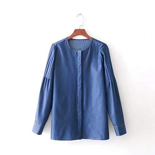 Cnsdy Camisas para Mujeres Moda Cuello Redondo para Mujeres Líneas Plisadas y Abiertas Camisas de Mezclilla Camisas para Mujeres Camisetas de Manga Larga: ...