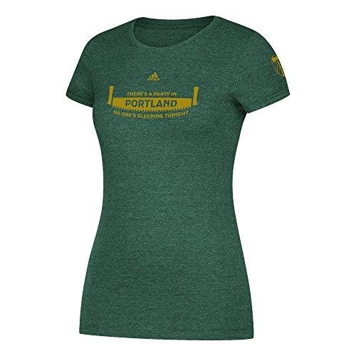 (adidas MLS Portland Timbers Adult Women Primary Jersey Hook Cap Sleeve Tee, Medium, Dark Green Heather )