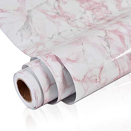 (Emerald Red Marble Contact Paper for Countertops Peel and Stick Wallpaper for Bathroom Kitchen Contact Paper Decorative Cabinet Liner Adhesive 24 x 118 inch)