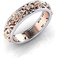 Promsup Rose Gold Filled Flower Ring Fashion 925 Sterling Silver Wedding Band Jewelry (6)