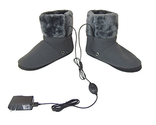 Heated Slippers - ObboMed® MF-2300M USB 5V 10W Cozy Carbon Fiber Heated Warming Booties Soft Sole – Size: M: #41 (fits foot up to 41) -Heating Slippers, Infrared Shoe, Warm Pad, Foot Heater, Cold feet solution.