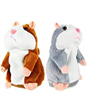 Kisangel 2 Pcs Talking Hamster Plush Toy Plush Interactive Toys Educational Talking Toys for Children Early Learning (Brown, Grey)