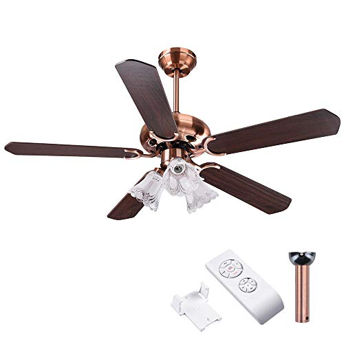 Yescom 48'' 5 Blades Ceiling Fan with Light Kit Antique Copper Reversible Remote Control by Yescom