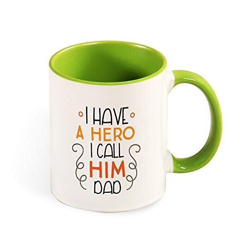 DKISEE Colorful I Have A Hero I Call Him Dad Coffee Mug Novelty 11oz Ceramic Mug Cup Birthday Christmas Anniversary Gag Gifts Idea - Black - Light green