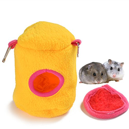 Small Animals Bed Plush Cotton Hammock Toy Hanging Bed Nest House for Rat Hamster Squirrel Parred Cute Animal Cage (Random color)