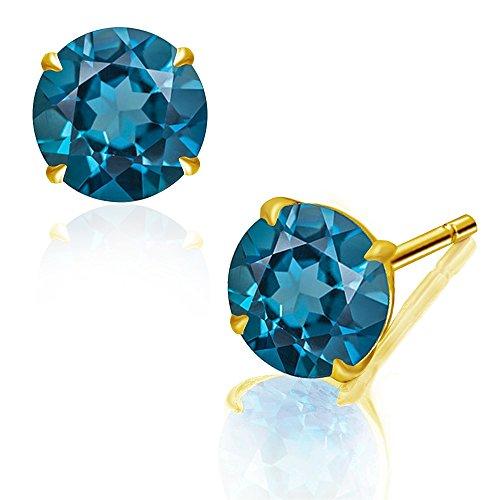 Diane Lo'ren 2.00 CTW 14K Gold London Blue Topaz Stud Earrings for Women