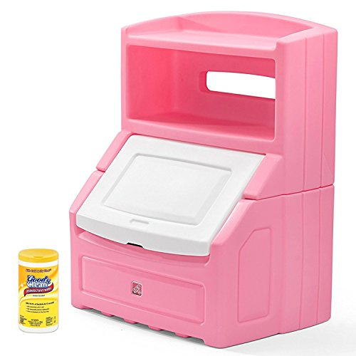 And Lift Hide Storage Chest (Step2 Lift & Hide Bookcase Storage Chest, Best Kids Toy Box, Pink with Disinfecting Cleaning Wipes, 35 Count)