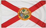 Florida State Flag 3x5 ft. Nylon SolarGuard NYL-Glo 100% Made in USA to Official State Design Specifications b
