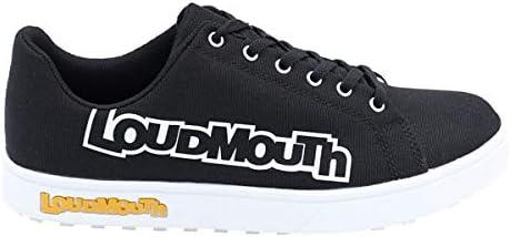 メンズ スパイクレス ゴルフ シューズ カジュアル キャンバス地 Loudmouth LM-GS0002 / 998ビッグロゴブラック24.0