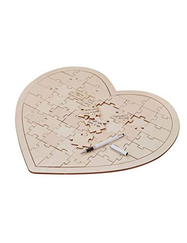 Wedding Guest Book Ideas Wedding Games Write On Wooden Heart Jigsaw 58 -
