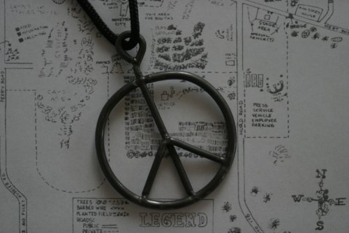 1969 Woodstock Fence upcycled peace sign necklace pendant, upcycled from authentic original vintage woodstock music concert fence