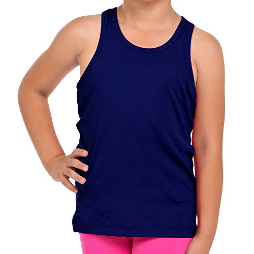 FRESH TEE Girls' Racer Back Tank Top Tunic (Girl 3/4, Navy) ()