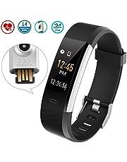 Fitness Tracker mit Pulsmesser,Wasserdicht IP68 Armband Pulsuhren Farbbildschirm Aktivitätstracker Schrittzähler GPS Uhr schrittzähler Smartwatch Anruf SMS Beachten mit iOS Android Handy