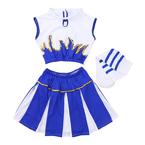 FEESHOW Kids Girls' Cheer Leader Costume Uniform Cheerleading Outfit Role Play Costume Dress-up Set White&Blue 5-6 ()