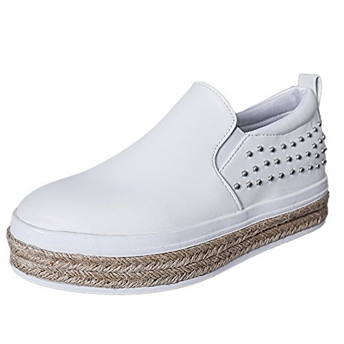 AllhqFashion Damen Ziehen auf Rund Zehe Niedriger Absatz Rein Pumps Schuhe Weiß