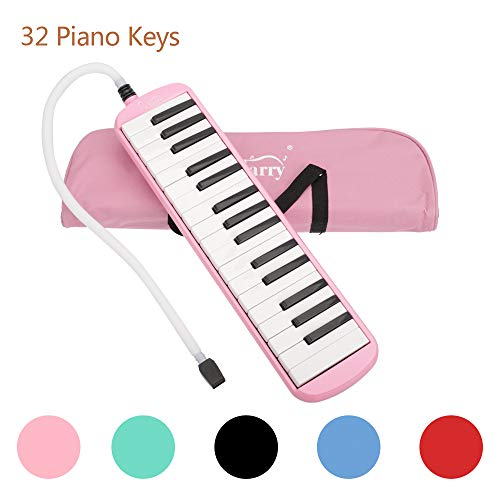 32 Key Melodica Piano Keyboard Style with Mouthpiece Hose Tube Set Carrying Bag for Music Lovers Beginners Pink