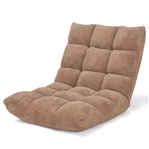 Brown Floor Chair Coral Velvet Cushioned Seat Folding Gaming Sofa w/14 Adjustable Position by FDInspiration
