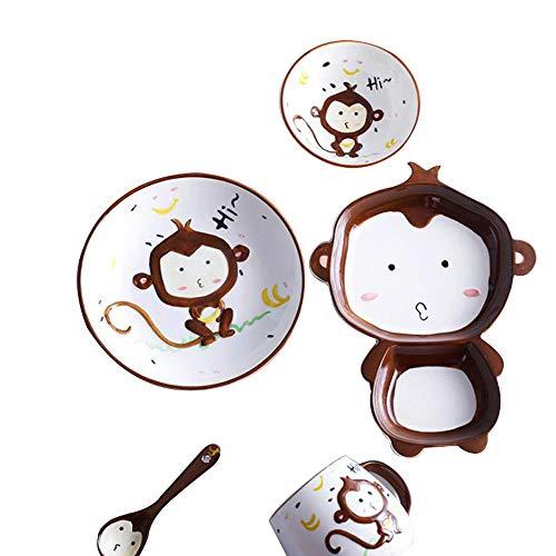 YoungQI Ceramics Porcelain Cartoon kids dishes Set Includes, Kids Cups, Kids Plates, Kids Bowls, Flatware Set, Kids dinnerware set (Brown Monkey)