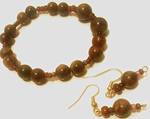 Soul Star Designs Ocean Jasper (Brick) Bracelet & Fish Hook Earring Duo w/red accent beads - Soul Fish