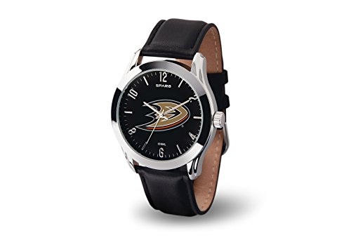 Anaheim Team Watch - Anaheim Ducks CLASSIC Watch Team Color Logo Black Leather Band NHL Hockey