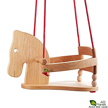 AD Planet Surprising Swing for Kids with Rope & Hook/Chair / Swing Chair/Baby Chair/Cute Modern Horse Figure Safety Seat/High Quality Natural Wood Swing for Nursery Or Outdoors Garden