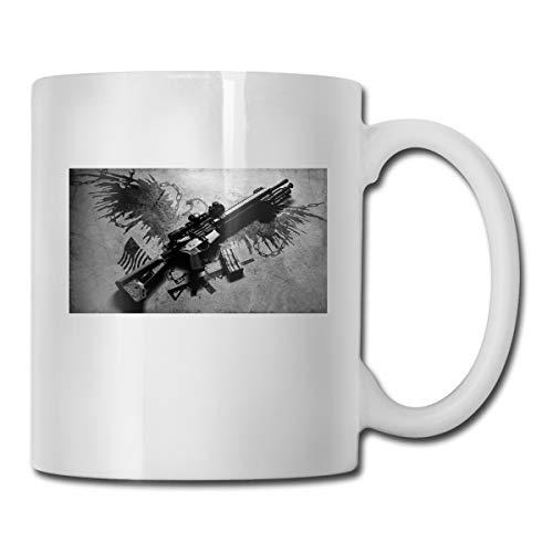 Porcelain Coffee Mug Gun Black Gray Ceramic Cup Tea Brewing Cups for Home Office ()