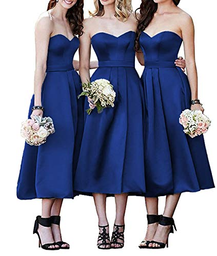 Clothfun Satin Bridesmaid Dresses Royal Blue Tea Length Sweetheart A Line Wedding Bridal Gown ()