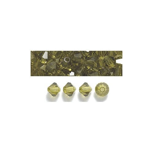 (Preciosa 4-Mm Czech Crystal Diamond/Bicone Bead, Olivine, 144-Piece)
