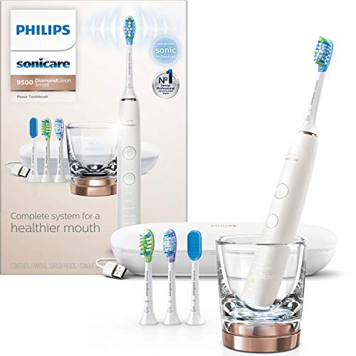 Philips Sonicare DiamondClean Smart 9500 Rechargeable Electric Toothbrush, Rose Gold HX9924/61