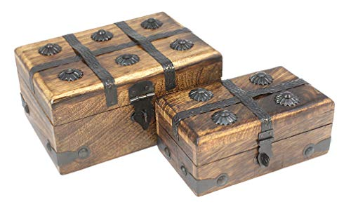 Pirate Treasure Chest Box Decorative Wood Keepsake Nested Two Pack Pair By Well Pack Box ()