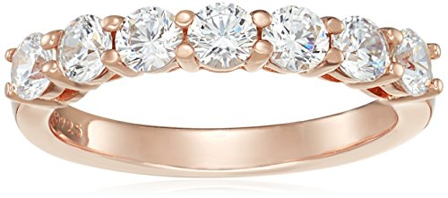 Rose Gold-Plated Sterling Silver Swarovski Zirconia 7-Stone Round-Cut Ring, Size 6