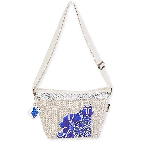 """Laurel Burch Crossbody Handbag, 11"""" x 3"""" x 8"""", Blossoming Felines"""