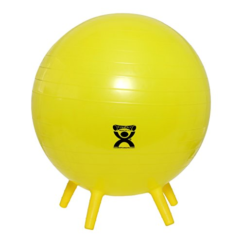 """CanDo Non-Slip Inflatable Exercise Ball with Stability Feet for Exercise, Workout, Core Training, Stability, Yoga, Pilates and Balance Training in Gym, Office, Home or Classroom. Yellow 18"""" (45 cm)"""