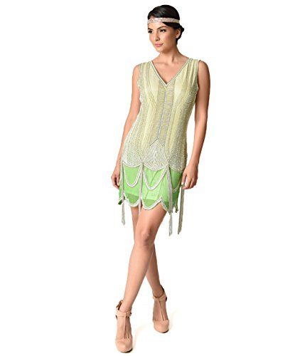 1920s Style Mint Ombre & Silver Beaded Silk Flapper (Ombre Silk Dress)