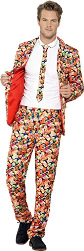 Smiffy's Men's Sweet Suit, Stand Out Suit, Jacket, pants and Tie, Stand out Suits, Serious Fun, Size L, 43436