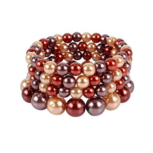 KOSMOS-LI Faux Pearl Strand Stretch Bracelet Mix Brown Tone Bead Bangle for Women