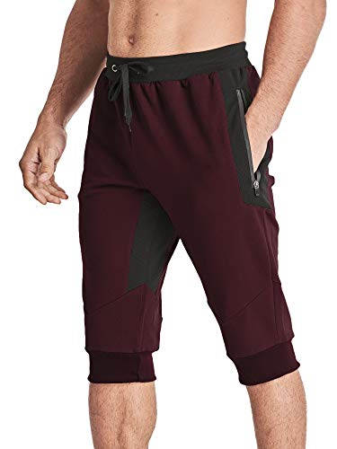 MAGCOMSEN Capri Pants for Men Knee Length Shorts 3/4 Shorts Zipper Pockets Walking Shorts Training Shorts Jogger Pants Fleece Shorts Red