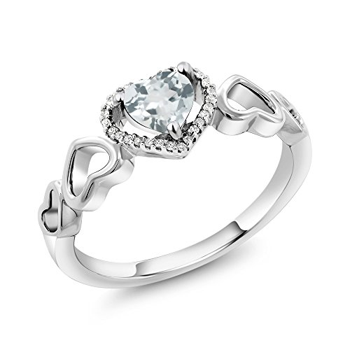 Gem Stone King 10K White Gold 0.58 Ct Heart Shape Sky Blue Aquamarine with Diamond Accent Engagement Ring (Size 9)