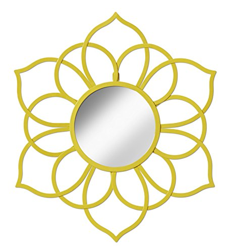 Kate and Laurel Brienne Metal Flower Round Wall Accent Mirror Yellow Yellow