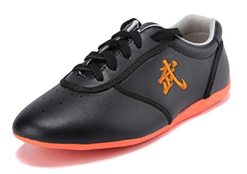 BJSFXDKJYXGS Leather Tai Chi Shoes Martial Arts Kung fu Shoes Chi Kung Shoes Martial Arts Boxing Shoes (Black, US10//EUR45//Foot Length27.5CM)