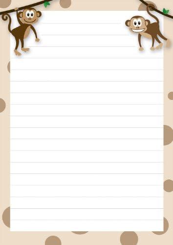 2 Stück Schreibblöcke Affen braun 50 Blatt Format DIN A5 mit Deckblatt 7040