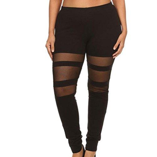 Tootu Women Plus Size Elastic Leggings Solid Criss-Cross Hollow Out Sport Pants (XXL, (Solid Elastic Women Leggings)