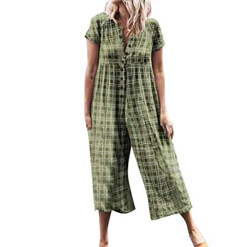 (Women Summer Fashion Casual Plaid Printed Short Sleeve Button Opening Beach Loose Long Jumpsuit)
