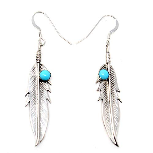 (Navajo Sterling Silver & Turquoise Feather Dangle Earrings |1 1/2