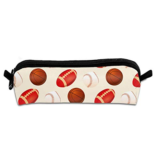 Kui Ju Pencil Bag Pen Case Baseball Pattern Cosmetic Pouch Students Stationery Bag Zipper Organizer